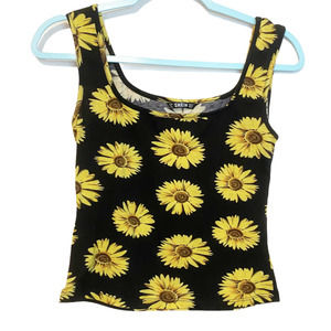 SHEIN Floral Yellow Graphic Sunflower Tank Top